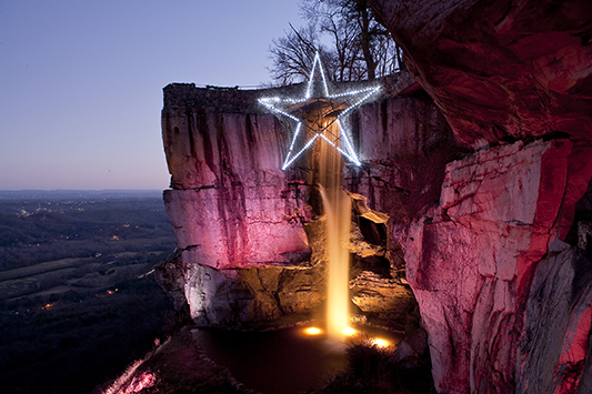 Lovers Leap during Rock City's Enchanted Garden of Lights