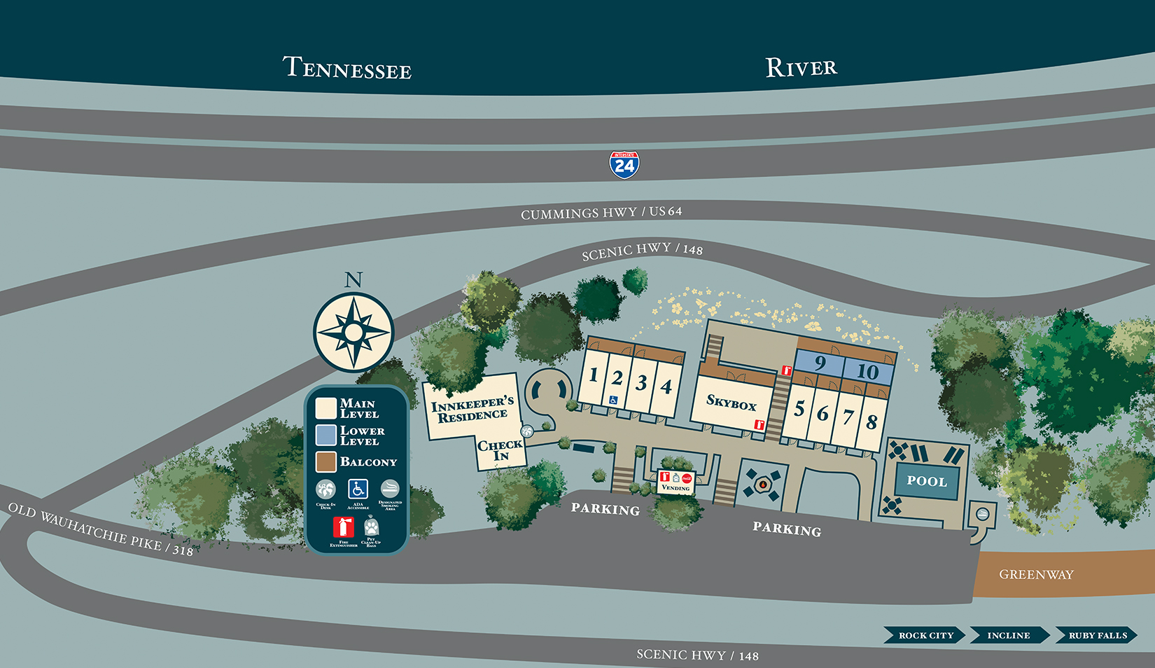 Illustrated map of RiverView Inn property